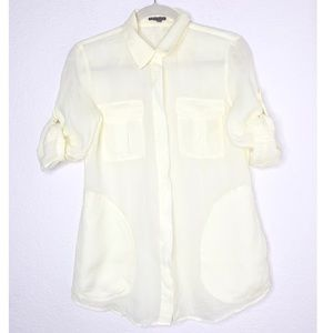 Theory Small Pale Yellow Button Front Shirt
